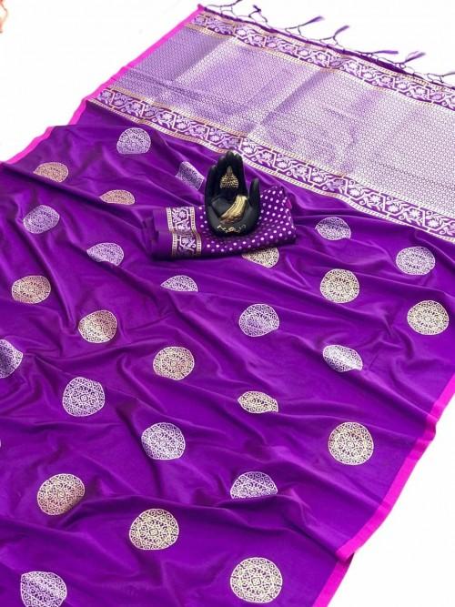 Purple Soft Banarasi Silk saree