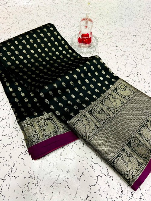 Fashionable black banarasi silk saree
