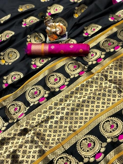 Gorgeous Black Lichi silk saree