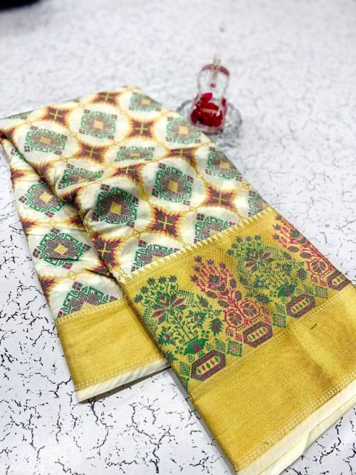 soft banarasi patola silk saree in White