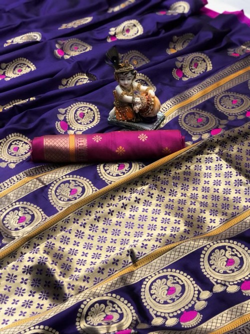 Gorgeous Violet Lichi silk saree