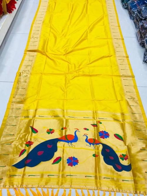 Gorgeous yellow Pethani Silk Traditional Saree