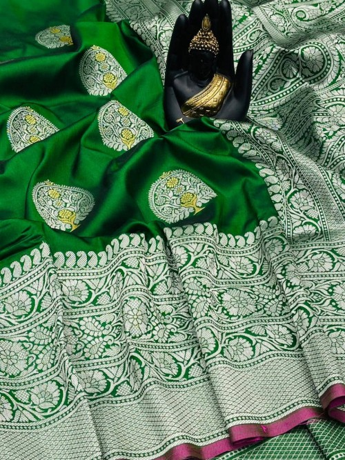Green Banarasi Silk Weaving Jacquard Saree With Rich Pallu - gnp009532
