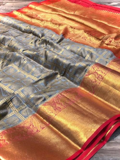 Grey Banarasi Silk With Zari Work Saree - gnp009006