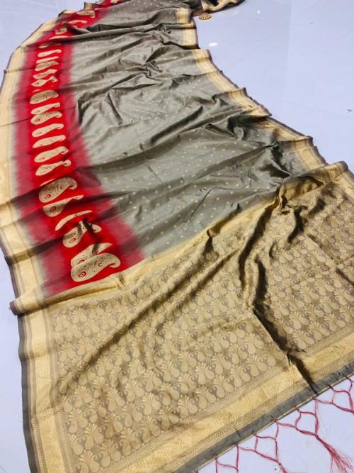 Fancy heavy Banarsi silk stylish Designer saree (Grey) gnp008106