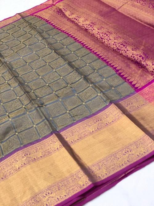 Grey Kanchipuram Silk party wear saree