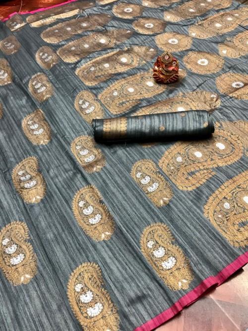 online party wear grey saree