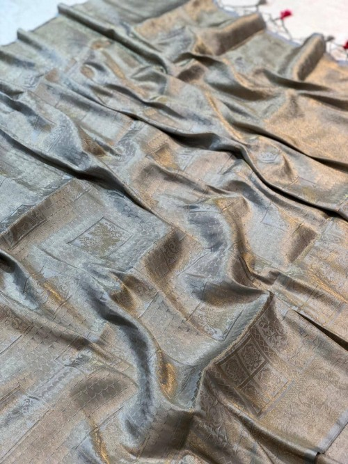 Premium Pure Banarasi Silk with pure Silver Jari work saree for marriage Function