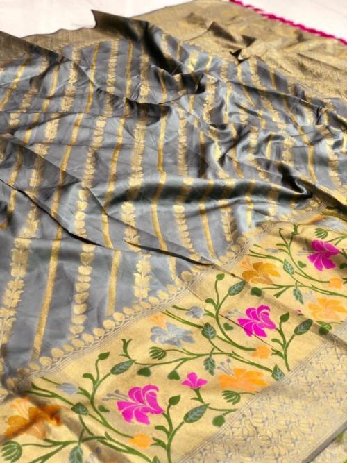 grey colour saree with gold border