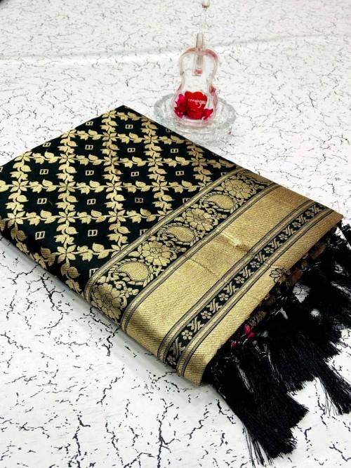 Heavy Black Banarasi weaving Silk Saree