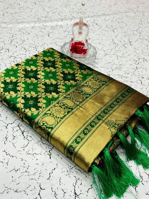Heavy Green Banarasi weaving Silk Saree