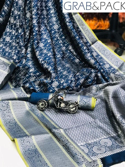 Jacquard woven saree in Blue gnp007590