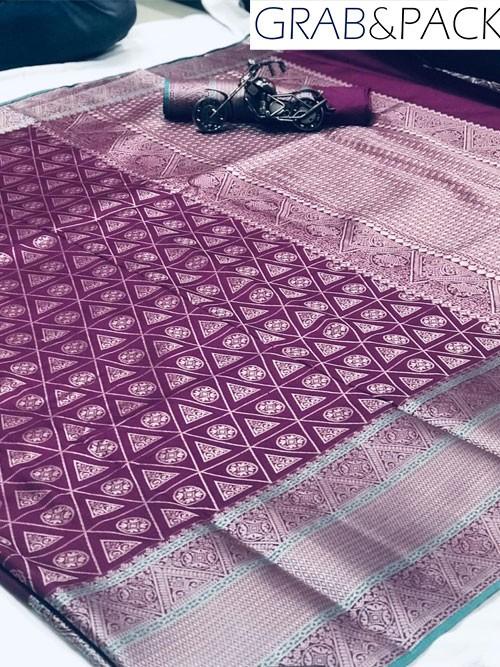 Jacquard woven saree in Purple gnp007591