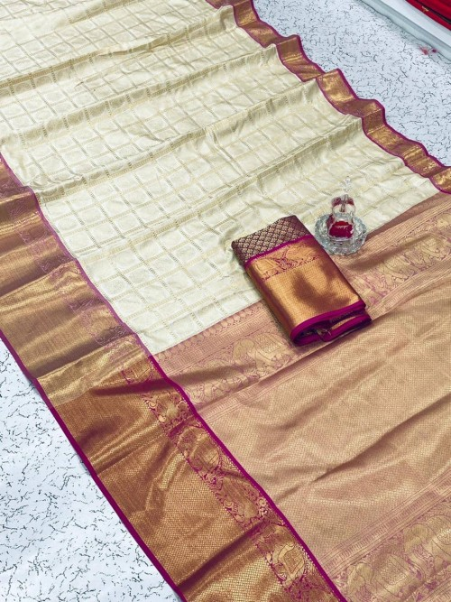 white silk saree with pink border online shopping