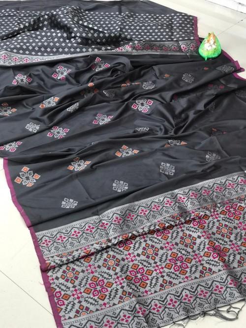 lichi silk with weaving silver zari work saree in Grey by grabandpack