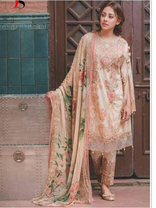 Light Orange Color Heavy Embroidered Cotton Pakistani Suit