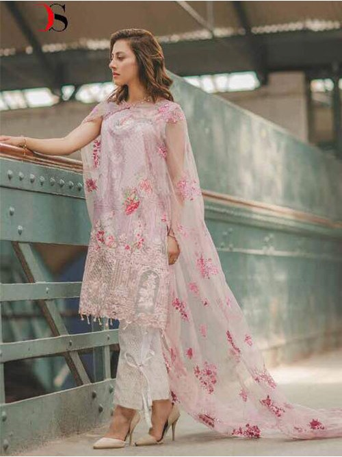 Light pink Color Heavy Embroidered Cotton Pakistani Suit
