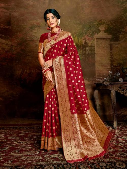 Gorgeous Jamdani silk saree in Maroon