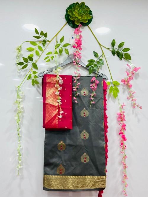 soft cotton silk weaving silver and gold zari saree