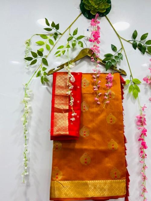 soft cotton silk weaving silver and gold zari saree in Orange