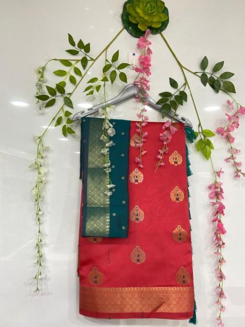 Peach coloured Cotton silk saree