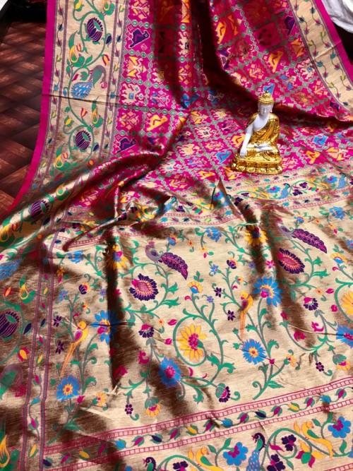 Pink Banarasi Silk Patola Saree