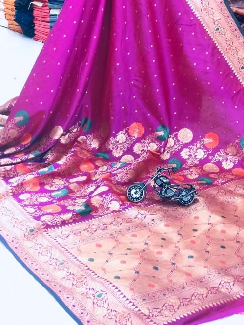 women's Attractive Soft Silk Saree in pink