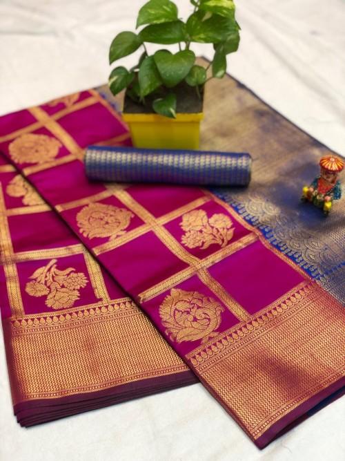 Pink checks zari work banarasi silk saree - party wear sarees for women