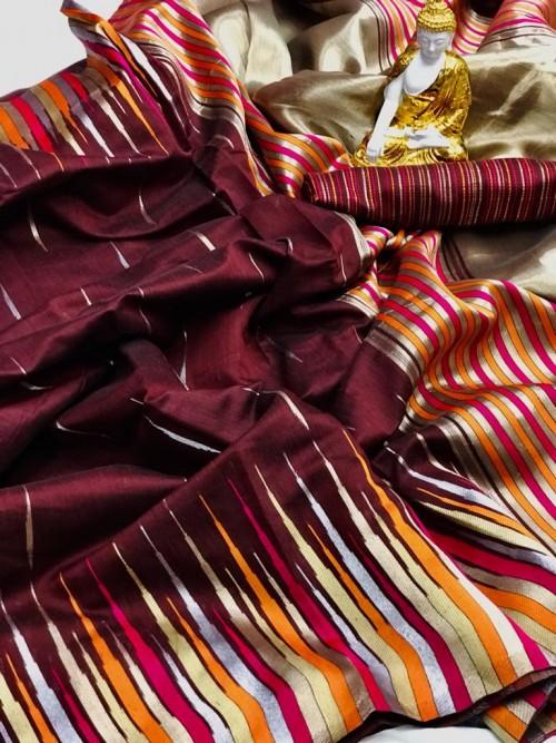 Maroon color Soft silk saree