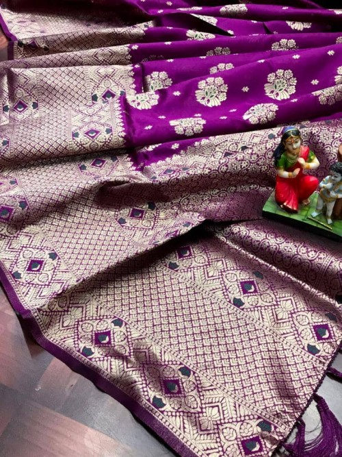 Purple Attractive Soft Banarasi Silk Saree