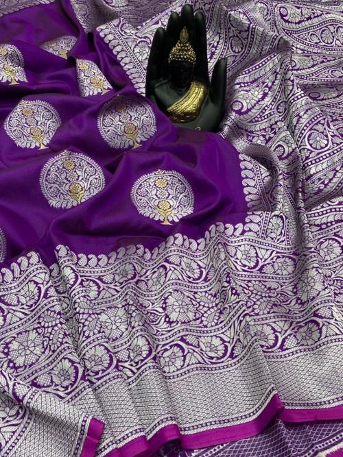 Purple Banarasi Silk Weaving Jacquard Saree With Rich Pallu - gnp009535