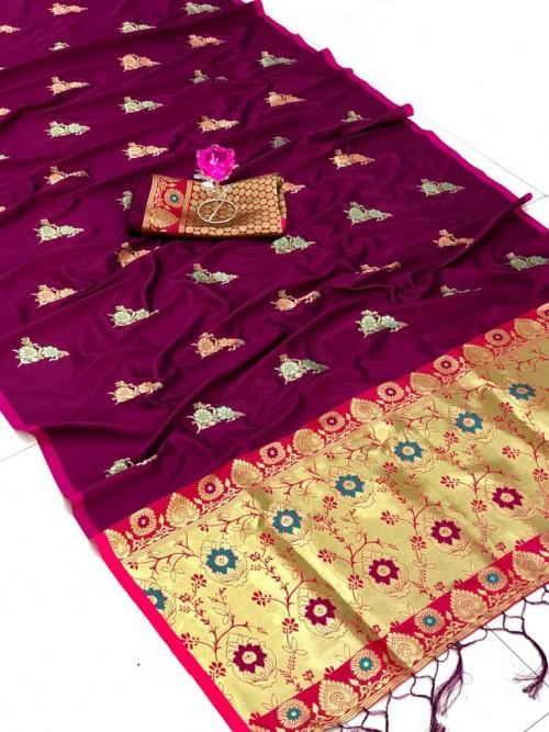 Purple saree look GrabandPack