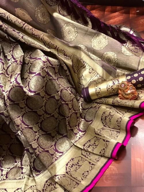 Purple Super Soft Banarasi Silk Saree with Weaving Gold Zari - gnp009760