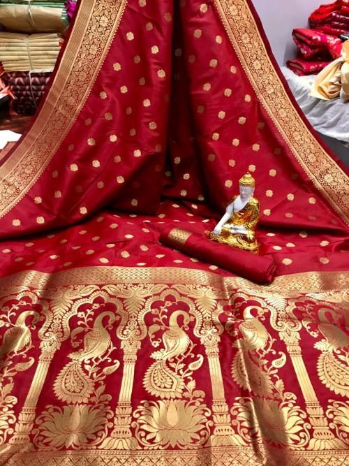 Red color Soft silk saree online