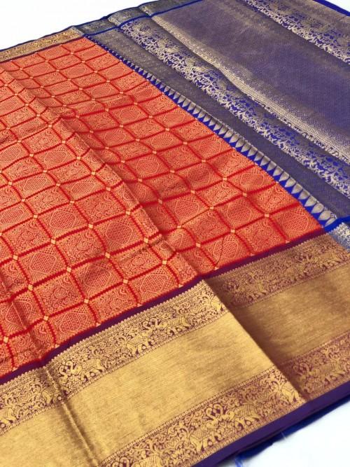 Kanchipuram Silk party wear saree in Red