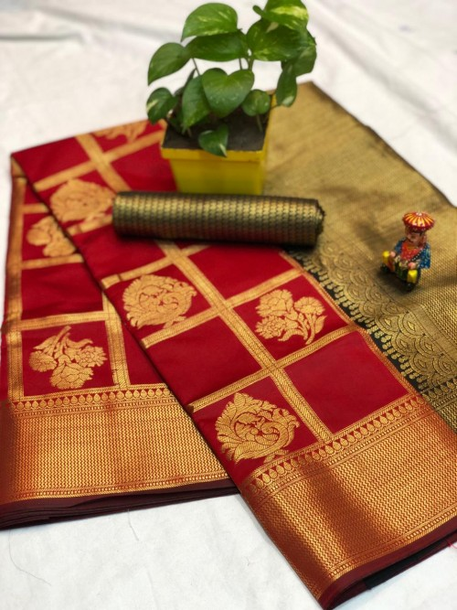 Red checks zari work banarasi silk saree - New sarees collection 2019