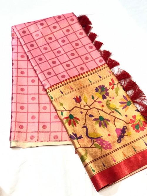 Pink color Soft Satin saree