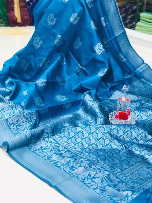 Sky Blue Banarasi saree online shopping