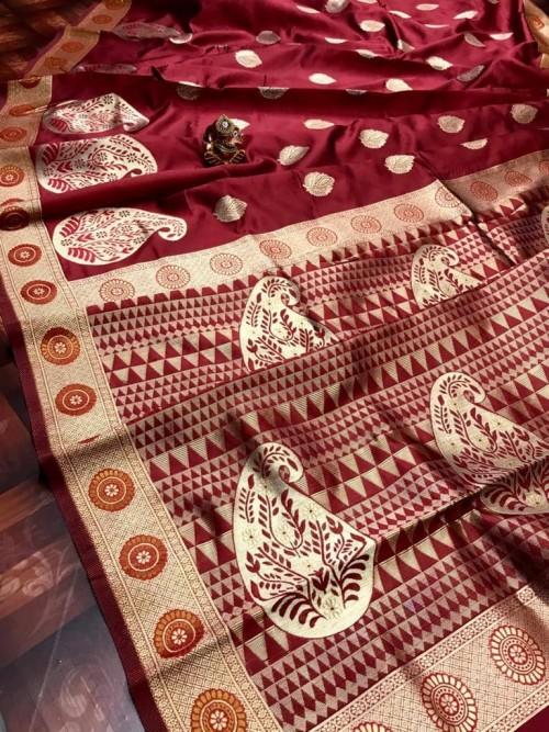 Soft Banarasi Silk Saree in Maroon