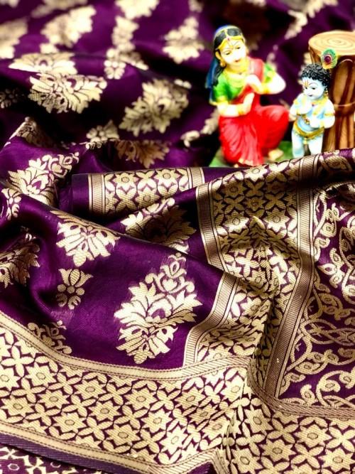 Soft Banarasi Silk Saree in Purple gnp0107211