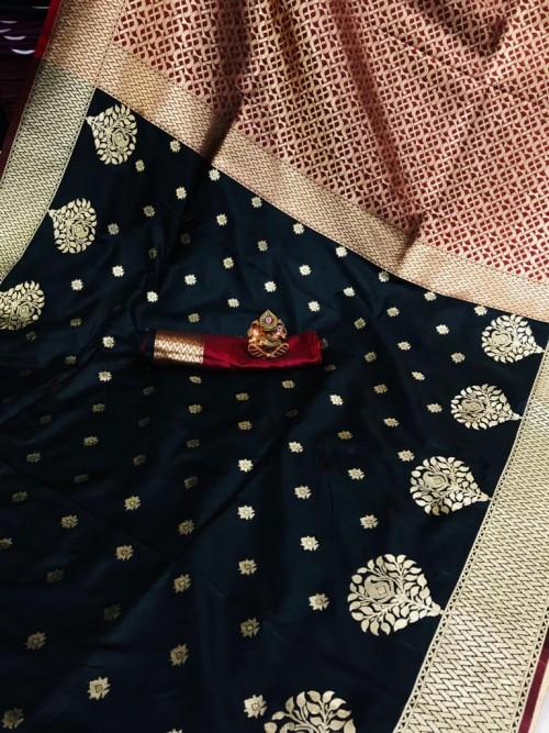 Soft Banarasi soft Silk Saree in Black gnp0107341 | new design saree