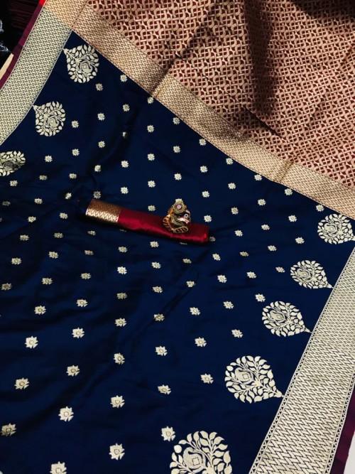 Soft Banarasi soft Silk Saree in Blue gnp0107340 | new design saree