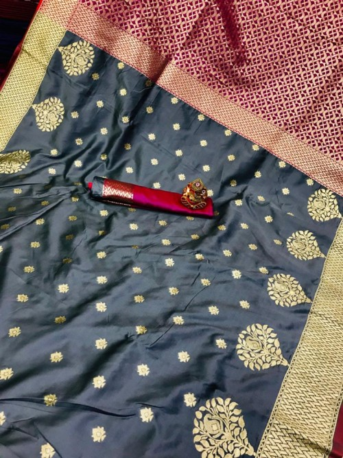 grabandpack Soft Banarasi soft Silk Saree in Grey