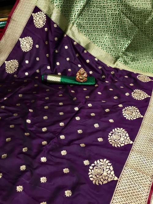 grabandpack Soft Banarasi soft Silk Saree in Purple