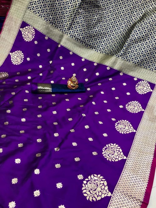 grabandpack Soft Banarasi soft Silk Saree in violet