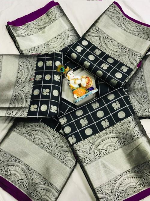 Soft Lichi silk saree in Black