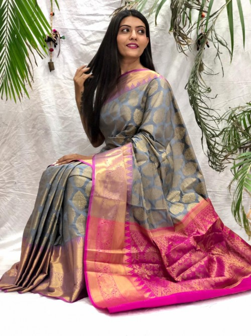 south indian blouse design in Grey
