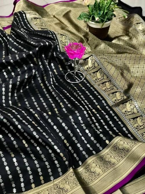 Women's Black Banarasi silk saree