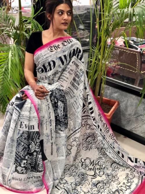 unique fancy Digital newspaper Printed Linen saree