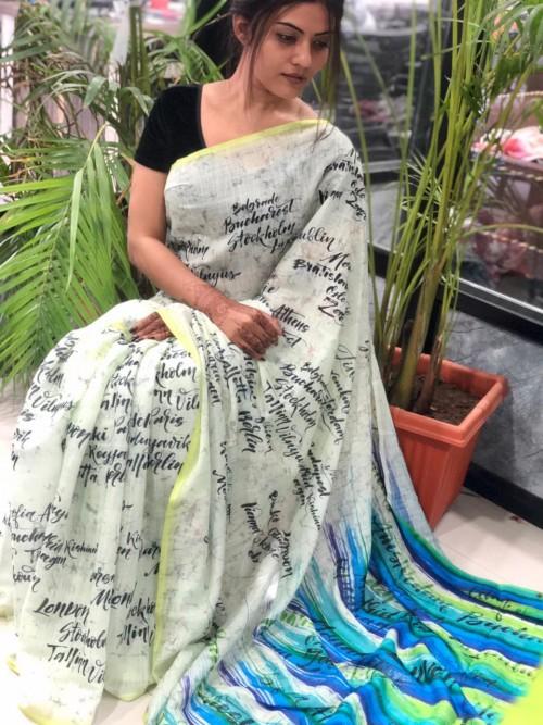 unique fancy Digital Printed Linen sarees